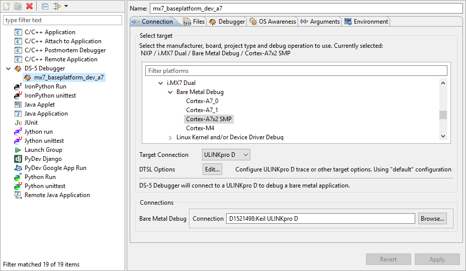 DS-5 debugger configuration for the i.MX 7.