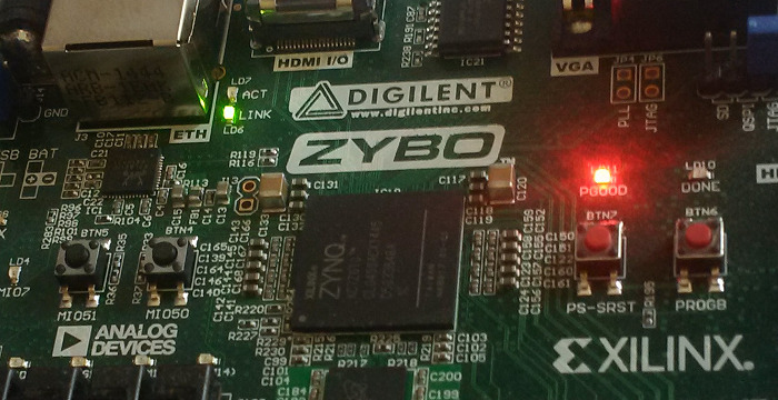Close up view of the Digilent Zybo development board showing the Xilinx Zynq-7000 SoC.