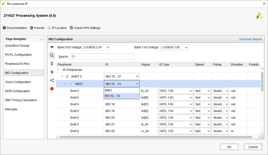 Zybo MIO configuration panel within the Xilinx Vivado IP Integrator.