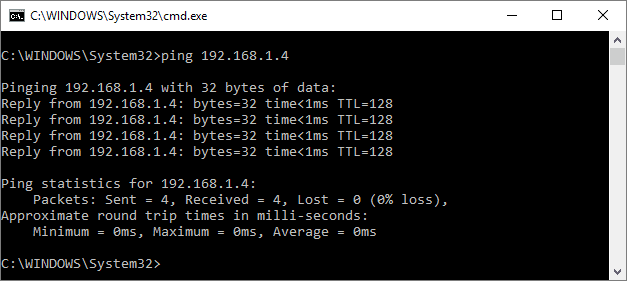 Terminal output of a ping test.