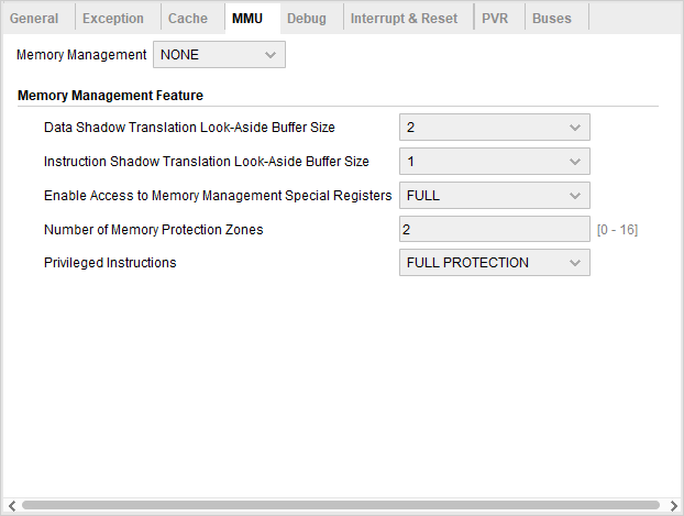 MicroBlaze MMU Configuration screen with option to select if an MMU is present in the system and what are its capabilities.