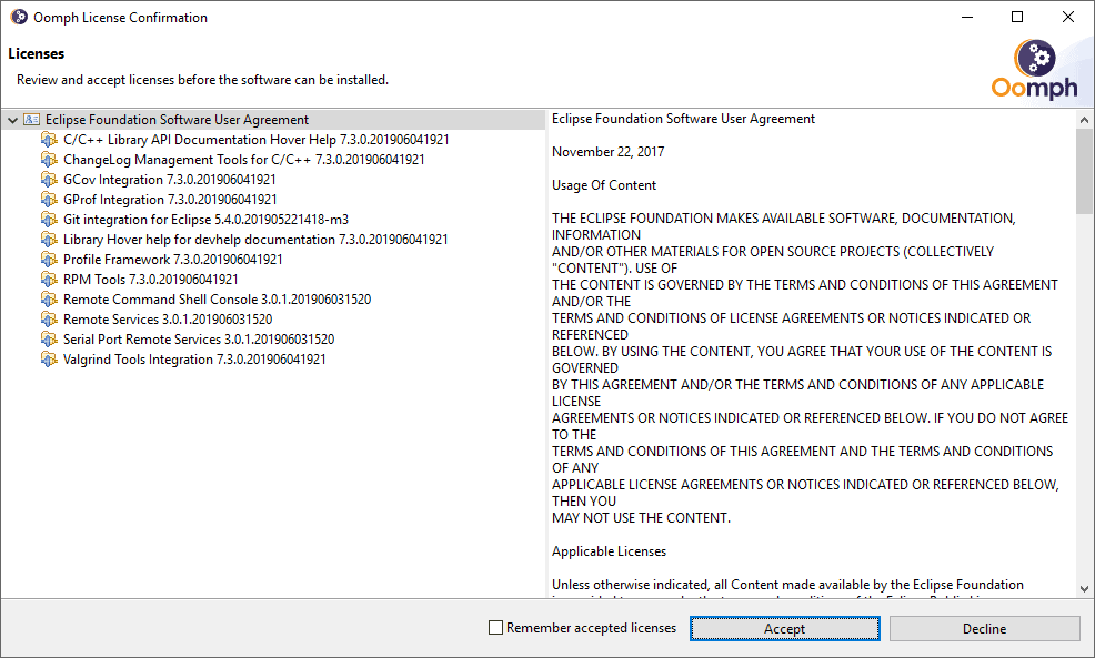 Eclipse IDE licence agreement dialog showing on the left pane the various software licences and on the right the selected licence's text. On the bottom a set of buttons are available to accept or decline the licences.