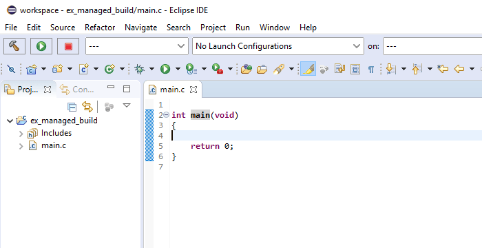 Close-up screenshot of the Eclipse IDE showing the code editor open with a portion of the toolbar.