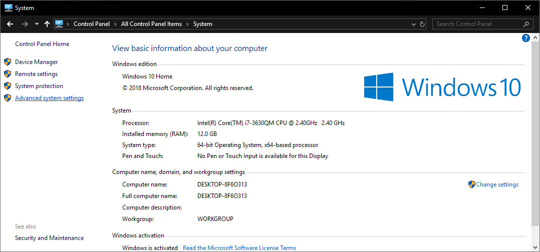 Windows 10 System configuration panel with