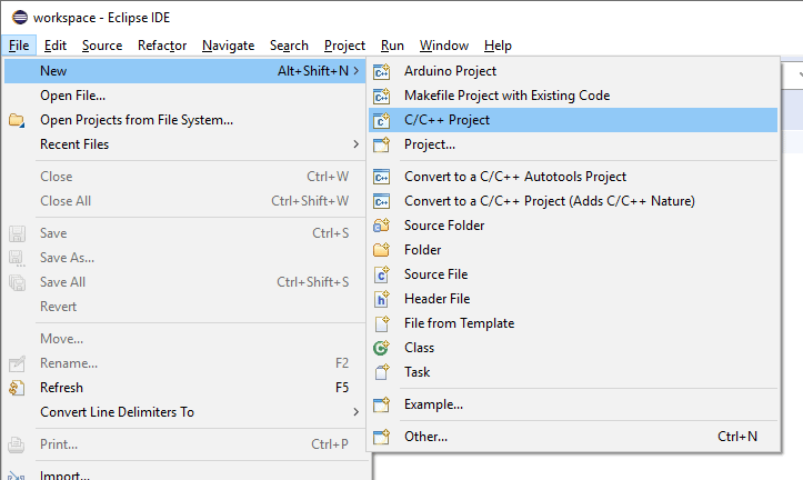Eclipse File menu and New sub-menu open with the