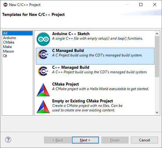 """New C/C++ project selection dialog showing the available Eclipse projects with the """"C Managed Build"""" project item highlighted."""