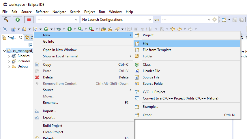 New File context menu item.