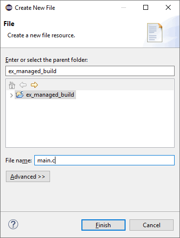 Create new file dialog with a project directory tree browser and text box to select the location and name of the new file to create.