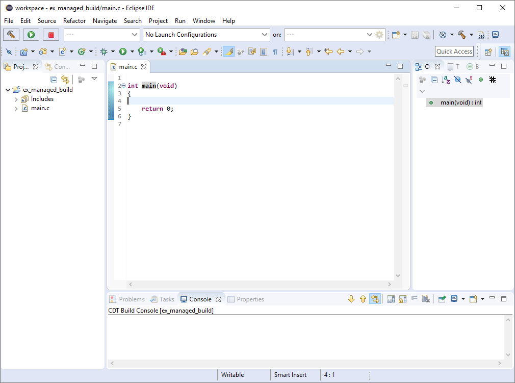 Dummy main.c file with simple main function displayed in the code editor.