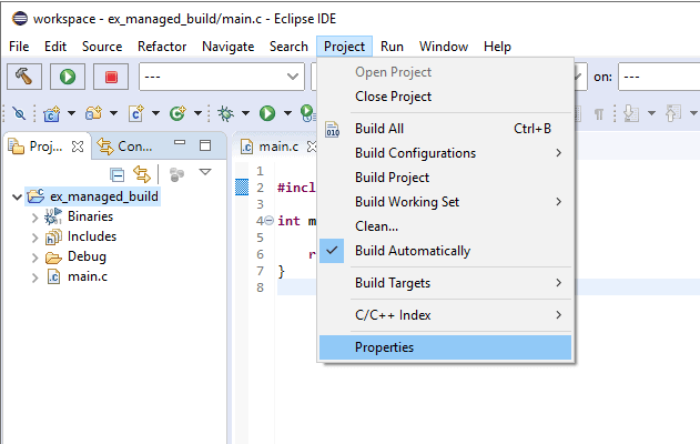 """Eclipse Project menu with the """"Properties"""" item highlighted."""