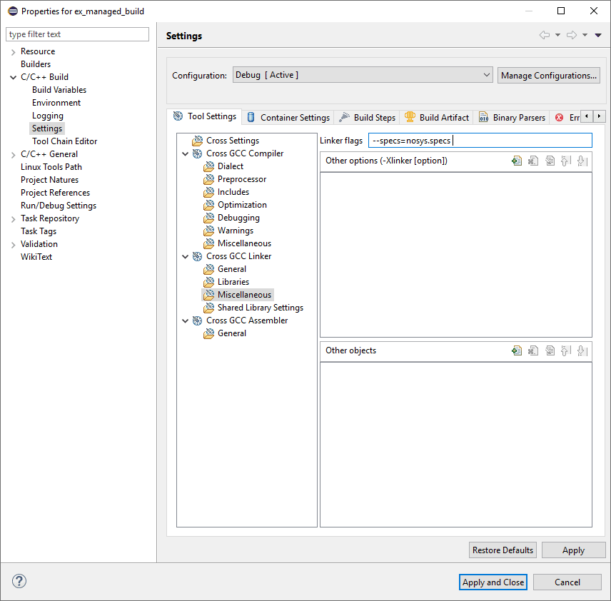 Eclipse project properties screen with the C/C++ Build linker settings panel open. The linker flag configuration is highlighted.