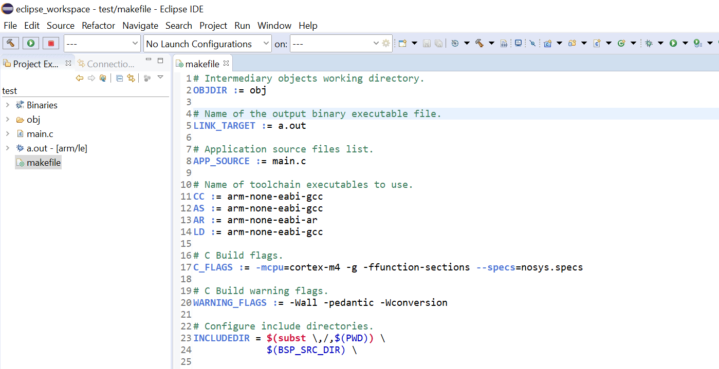 Close up screenshot of the Eclipse IDE editor with a custom Makefile displayed.