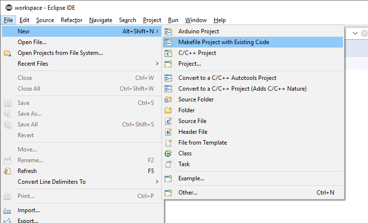 "Eclipse File menu with ""Makefile Project with Existing Code"" item highlighted."