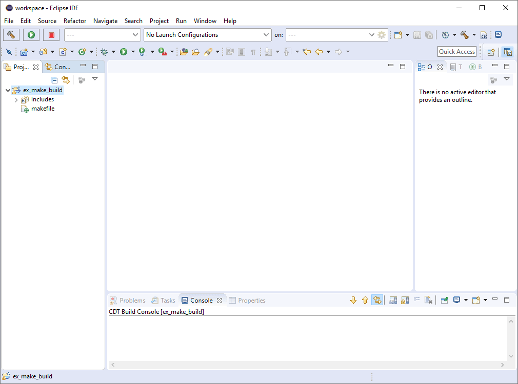 Eclipse IDE workspace with the newly created project displayed in the left project explorer view.
