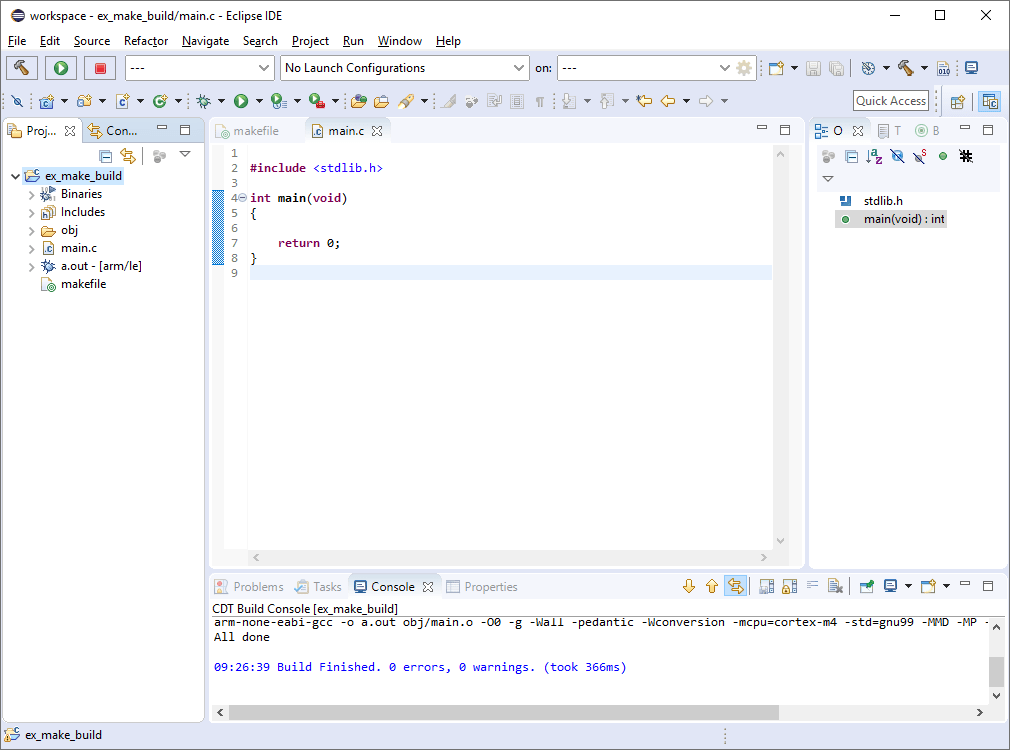 Eclipse IDE with console output announcing that the build finished without errors.