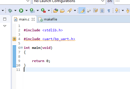 Example of unresolved inclusion within the Eclipse IDE code editor where a header file is underlined in a weavy yellow line.