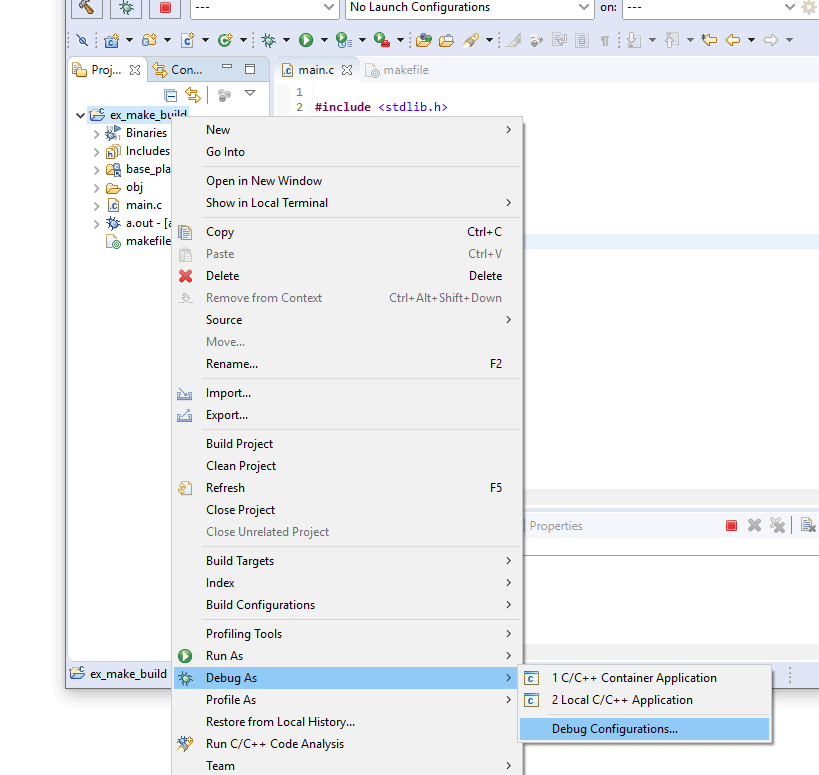 Screenshot of the Eclipse Debug Configuration context menu item.