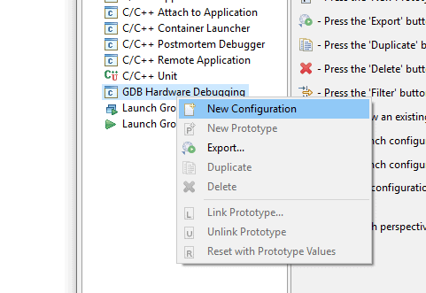 Screenshot of the New Configuration context menu item within the Eclipse Debug Configurations panel.