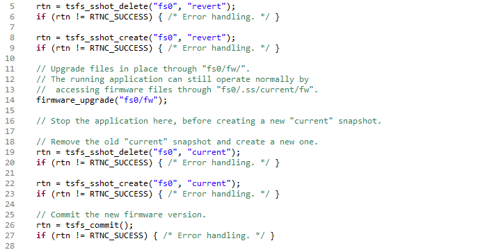 Code example of implementing a firmware upgrade procedure using TSFS snapshot and revert features.