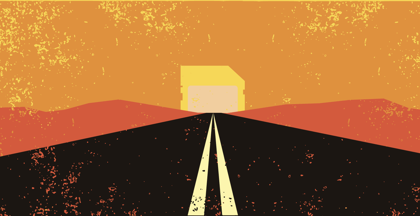 Road leading to an SD Card shaped sunrise.