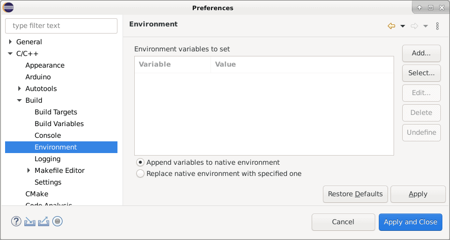 Eclipse workspace environment variable configuration panel.