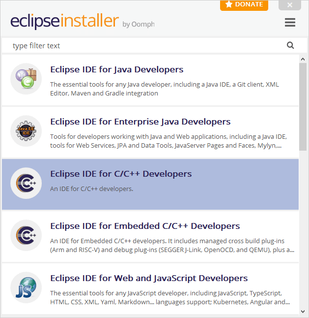 First screen of the Eclipse IDE installer with a list selection of editions available to install.