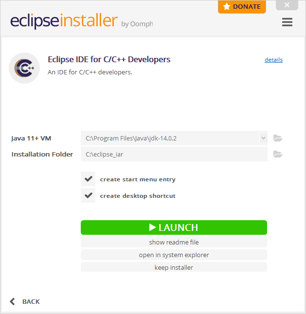 Installation completed dialog with button to launch the installed Eclipse IDE. Other buttons are available to display the readme file or to open the installation directory.