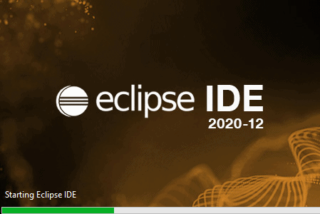 Eclipse momentary splash screen with progress bar while the IDE is loading.