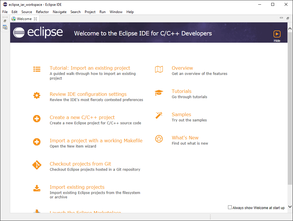 Eclipse IDE with welcome screen showing a selection of documents and tutorials.