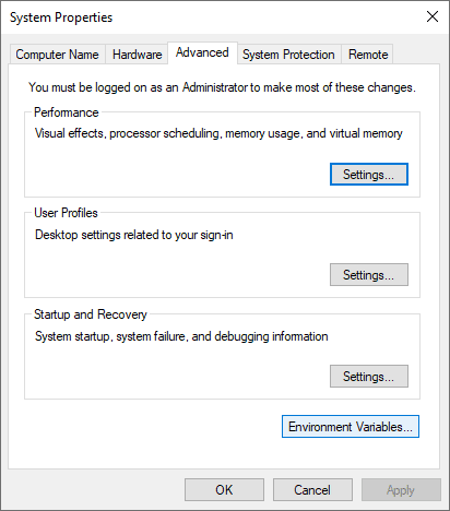 System properties with advanced settings pane open.