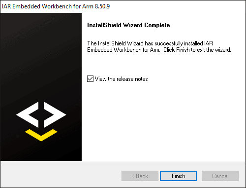 Installation complete dialog with checkbox option to open the release notes.