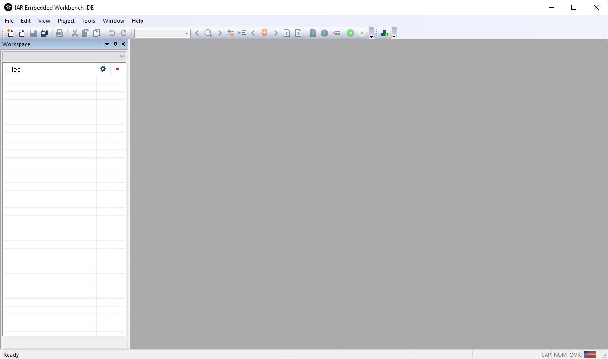 Empty IAR Embedded Workbench IDE.