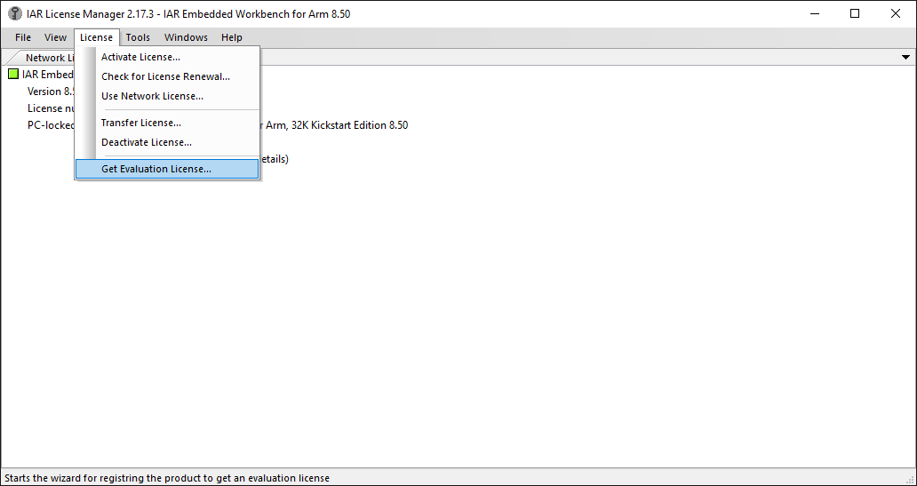 IAR license manager tool with menu item to request an evaluation license displayed.