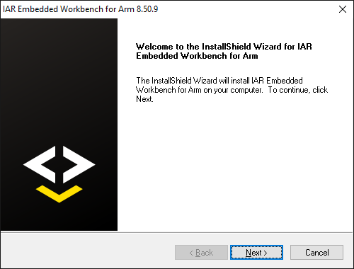 Welcome screen of the IAR installation wizard.