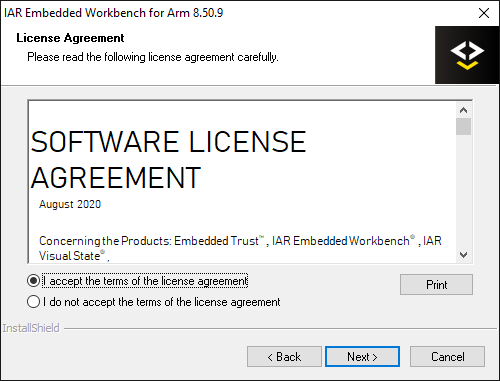 License agreement panel with a copy of the license text and a set of checkboxes to accept or reject the agreement.