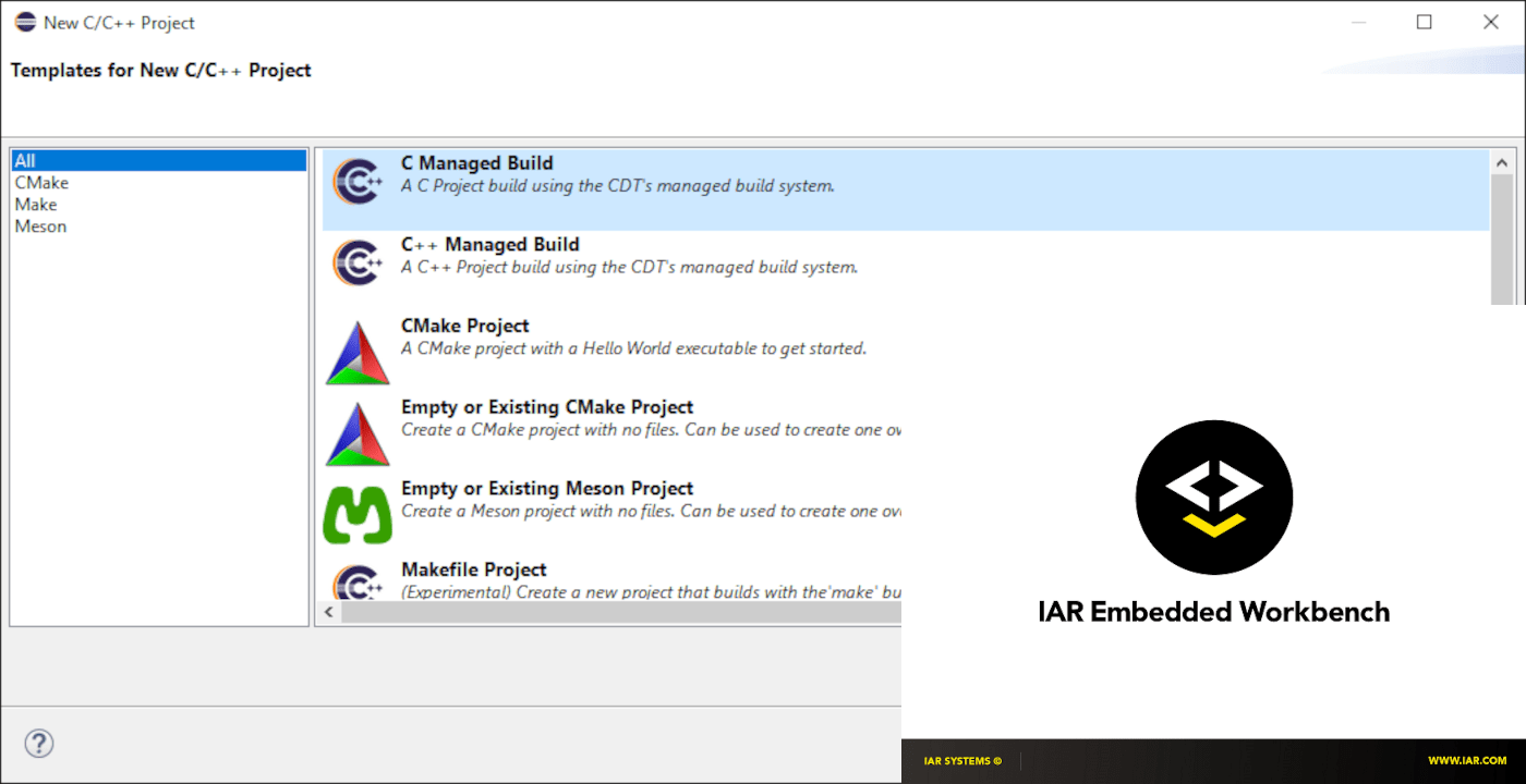 Screenshot of the Eclipse IDE new project dialog with the IAR Embedded Workbench splash screen in the foreground.
