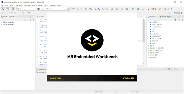 Screenshot of the IAR splash screen with the Eclipse IDE in the background.