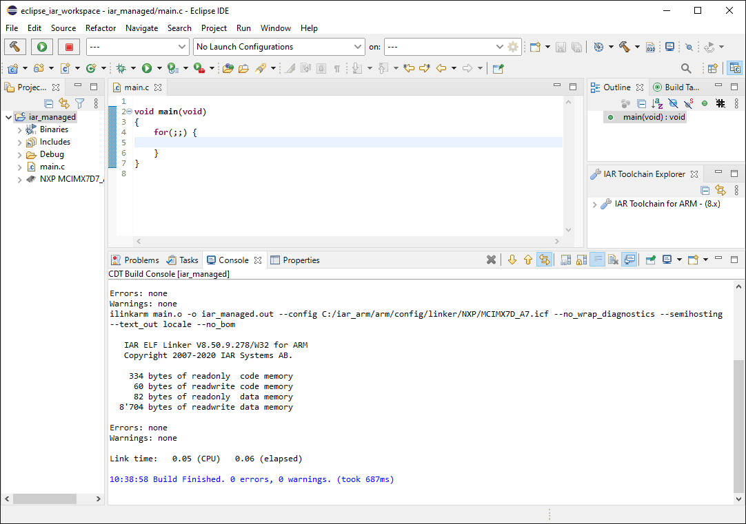 Eclipse IDE with console output of the build process showing a successfull build