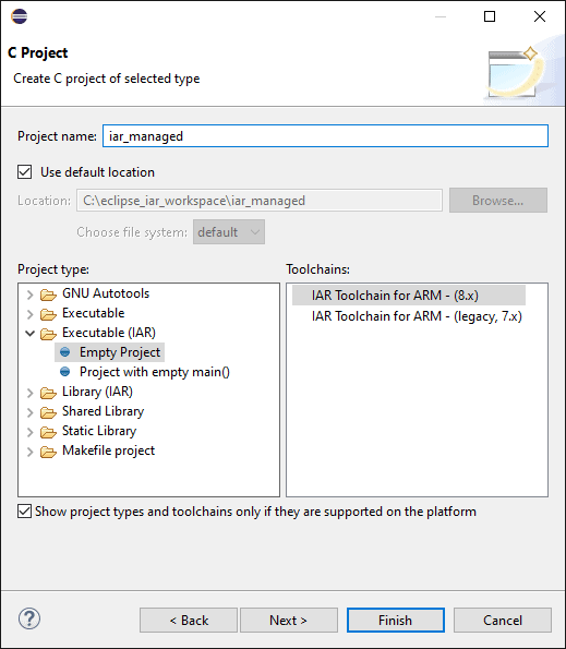 Create new C project of selected type dialog. Two text boxes with a browse button are available to set the name and install directory of the new project. The bottom left panel contains a series of supported types with the