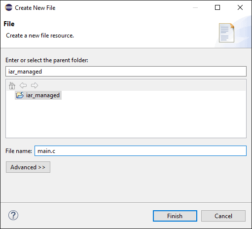Create new file dialog. The top section contains a project tree to select the location of the new file in the selected project. At the bottom a text box is used to set the name of the file to create.