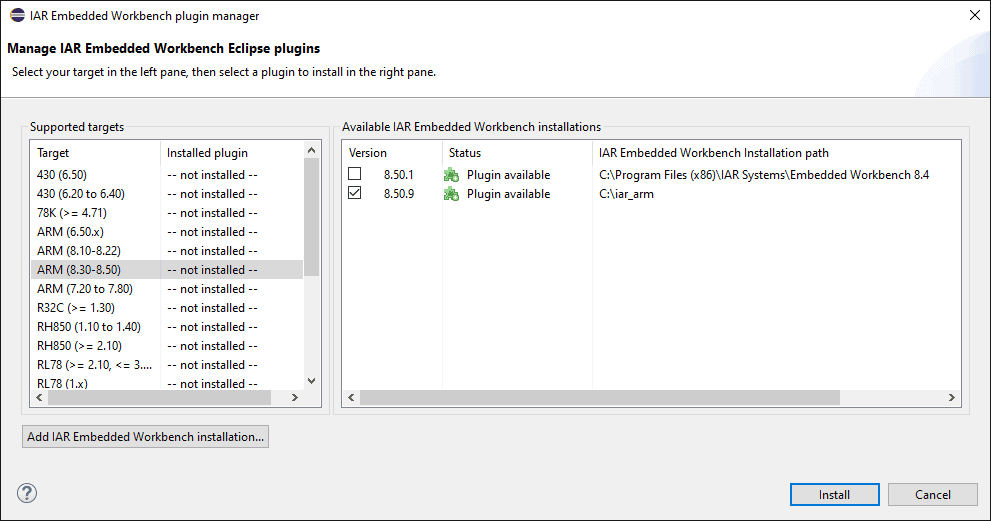 IAR Eclipse plugin manager with selection of target IAR version and selection of installed IAR embedded workbench.