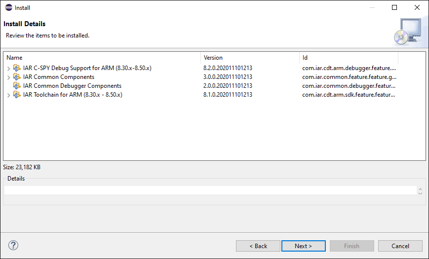 Summary of IAR plugin components to be installed.