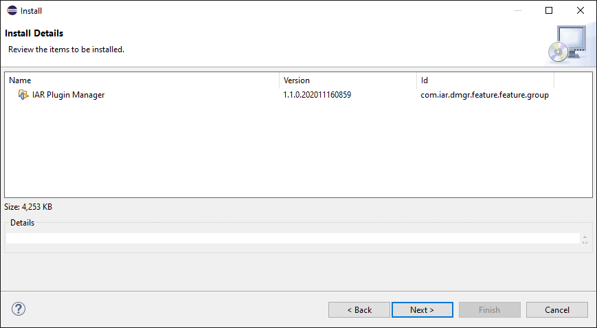 Installation summary screen with IAR Plugin Manager displayed.