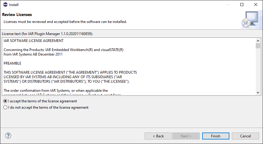 Licence agreement screen with checkboxes to accept or refuse the agreement.