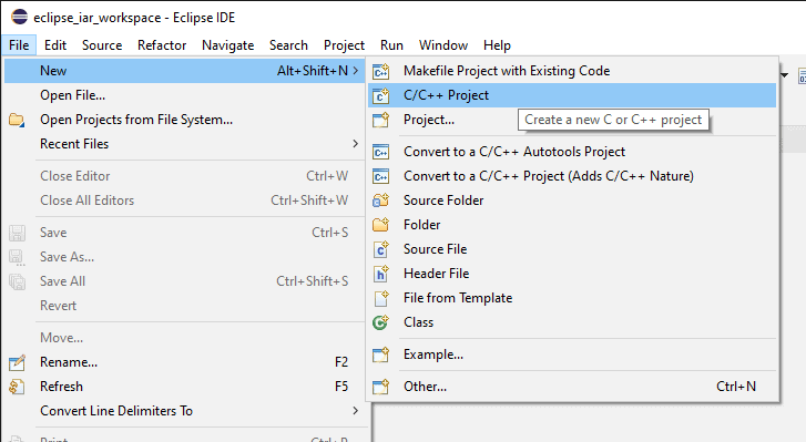 Eclipse New C/C++ Project menu item.