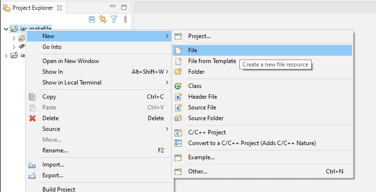 Eclipse New File context menu item.