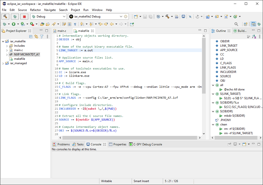 Eclipse IDE with the example makefile open in the text editor.