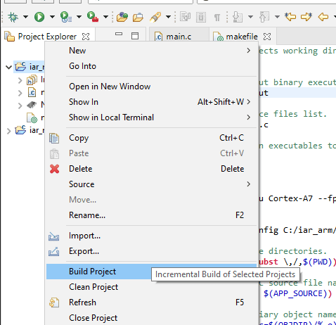 """Build Project"" context menu item."