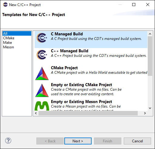 "Eclipse ""New C/C++ Project"" selection dialog with a list of possible project templates. The ""C Managed Build"" project template is highlighted."