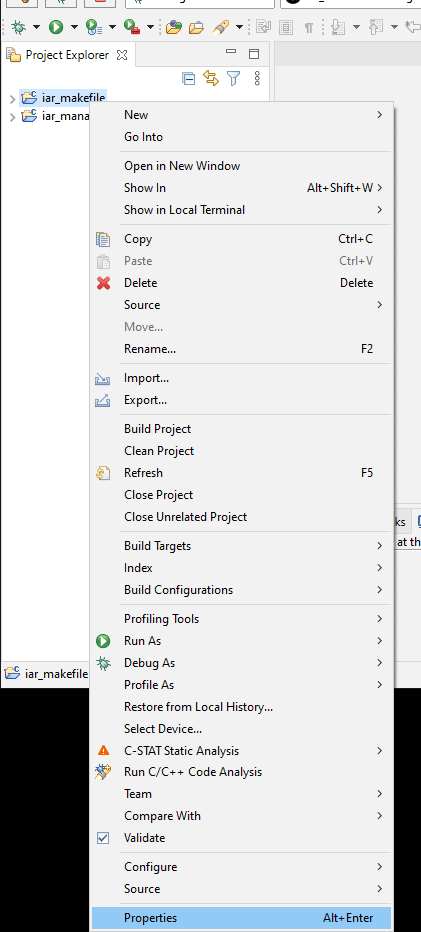 "Project context menu with the ""Properties"" item highlighted."